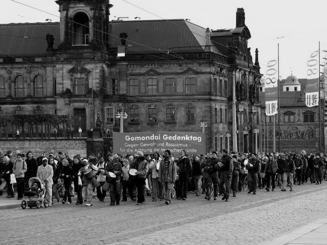 Dresden, Demonstration gegen Rassismus am Todestag von Jorge Gomondai im Jahr 2006